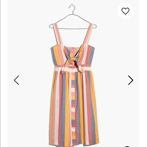 NWT Madewell Tie-Front Dress in Sherbert Stripe